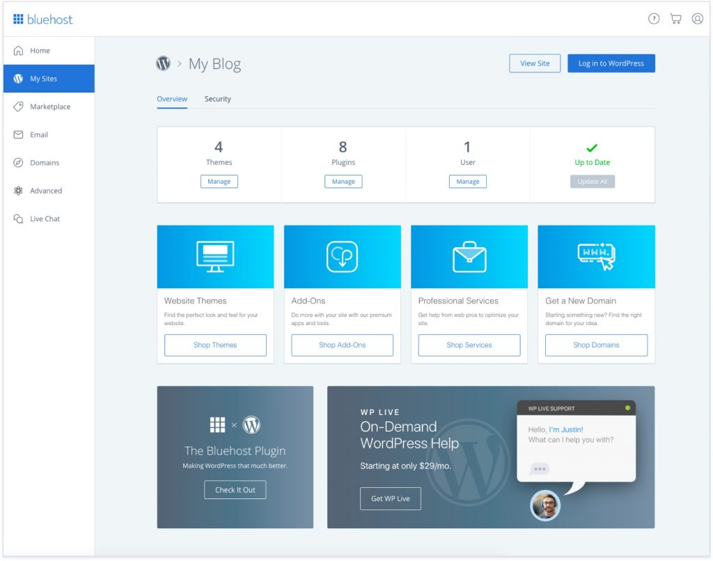 Bluehost WordPress hosting user interface