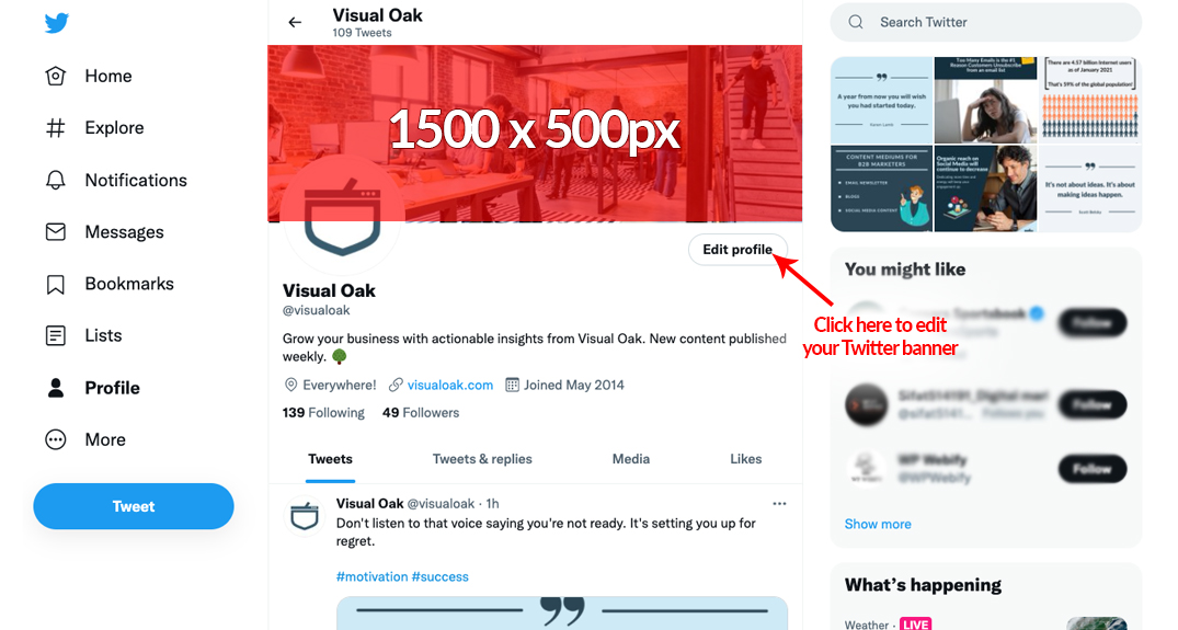 Screenshot of a Twitter profile with custom banner
