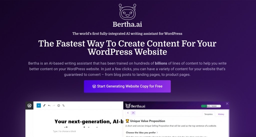 Bertha.ai is a copywriting tool built for WordPress